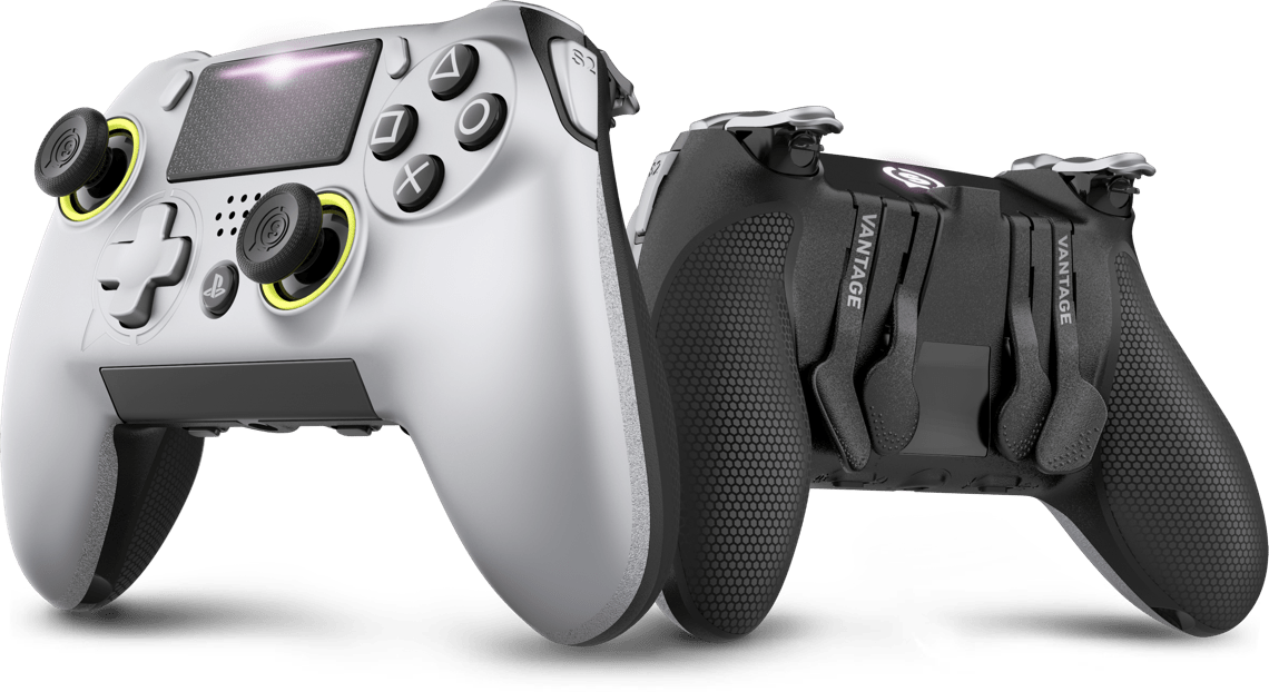 Two Scuf Vantage controllers. One of the controllers is rotated to show the paddles and triggers.